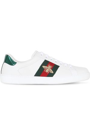 Gucci Men Sneakers - New Ace Bee Web Leather Sneakers