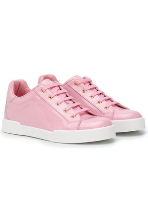 Dolce & Gabbana Lace-up shiny leather sneakers