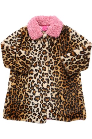 MONNALISA Leopard Print Faux Fur Coat