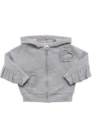 MONNALISA Ruffled Cotton Sweatshirt Hoodie