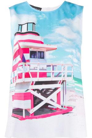Moschino Women Tank Tops - Beach hut-print tank top