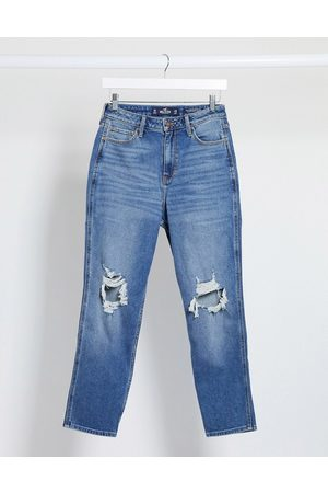 Hollister Distressed mom jeans in midwash
