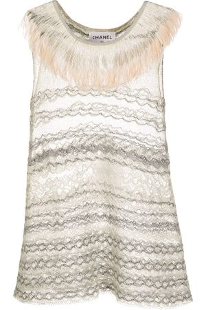CHANEL 1990s fringed neck sleeveless embroidered top