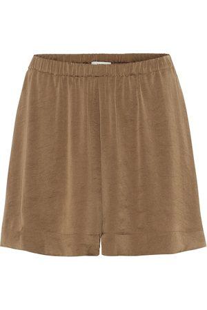 Vince High-waisted habotai silk shorts