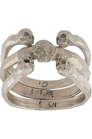 13 LUCKY MONKEY Hammered skull ring