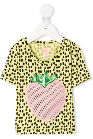 Wauw Capow Johanna strawberry appliqué T-shirt