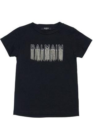 Balmain Embroidered Logo Cotton Jersey T-shirt