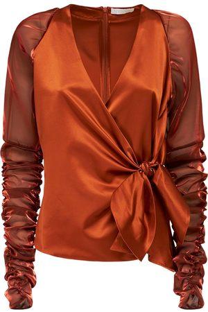 NYNNE Chloe Ruched Silk Satin Shirt