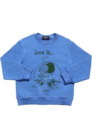 Dsquared2 Girls Sweatshirts - Love Is Capsule Print Cotton Sweatshirt