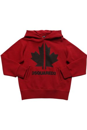 Dsquared2 Leaf Printed Cotton Sweatshirt Hoodie