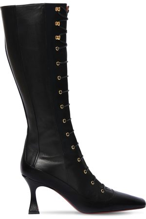 MANU Women Lace-up Boots - 80mm Duck Leather Lace-up Boots