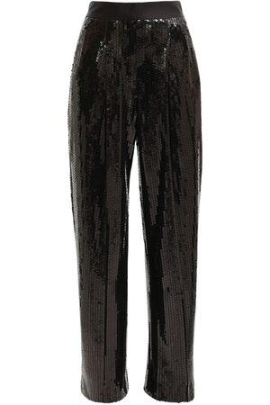 Alessandra Rich Women Wide Leg Trousers - High Waist Sequin Wide Leg Pants