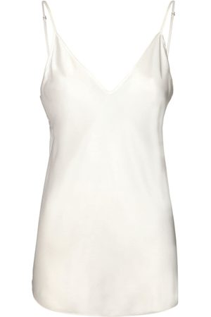 Max Mara Women Tank Tops - V Neck Stretch Silk Satin Tank Top