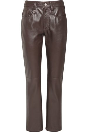 MM6 MAISON MARGIELA Women Leather Trousers - Leather Straight Pants
