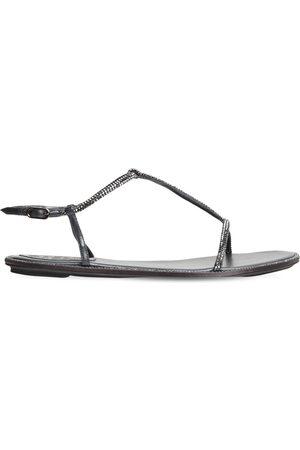 RENÉ CAOVILLA 10mm Embellished Satin & Leather Sandals