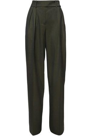 ALEXANDRE VAUTHIER High Waist Wool Flannel Wide Leg Pants
