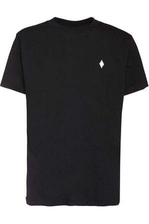 MARCELO BURLON Men T-shirts - Logo Embroidery Basic Cotton T-shirt
