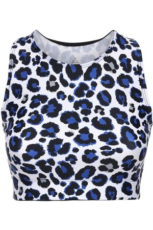 Adam Selman Sport Women Crop Tops - Leo Print Racer Back Crop Top