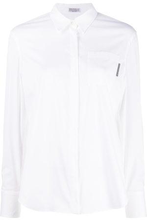 Brunello Cucinelli Beaded tab detail shirt