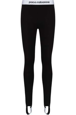 Paco rabanne Women Leggings - Logo stripe stirrup leggings