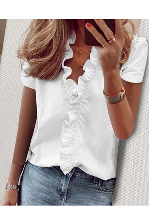 YOINS Ruffle Trim Design V-neck Short Sleeves Blouses
