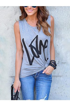 YOINS Grey Letter Pattern Round Neck Basic Vest