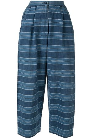 Issey Miyake Cropped striped trousers