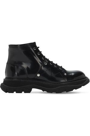 Alexander McQueen 45mm Tread Brushed Leather Combat Boots