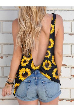 YOINS Backless design Knotted Round neck Tank Top