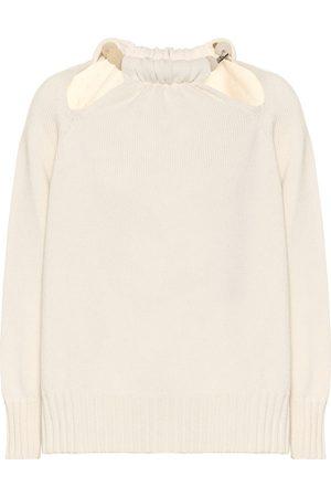 Jil Sander Beaded cut-out wool-blend sweater