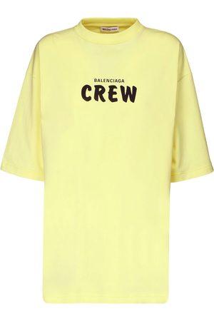 Balenciaga Women T-shirts - Over Crew Print Cotton Jersey T-shirt
