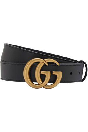 Gucci 3cm Gg Gold Buckle Leather Belt