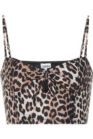 Ganni Leopard-print bikini top