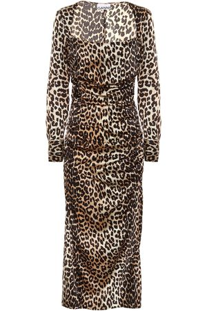 Ganni Leopard-print stretch silk-satin midi dress