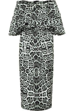 DRIES VAN NOTEN Leopard-print off-shoulder midi dress