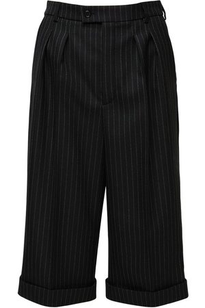 Saint Laurent Pinstripe Gabardine Knee Length Pants