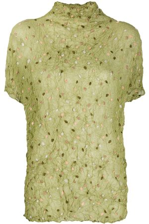 Issey Miyake 1990s embroidered polka-dot crinkled top