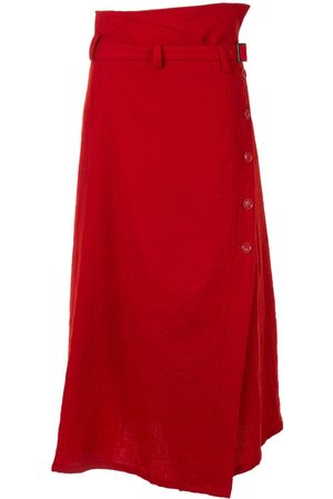Y'S Button-up belted mid-length skirt