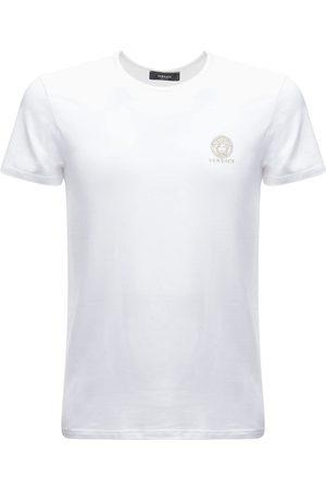 VERSACE Logo Print Stretch Cotton T-shirt