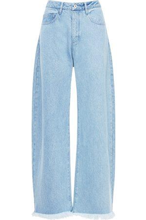 MARQUES'ALMEIDA High Waist Cotton Wide Leg Jeans