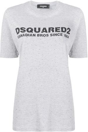 Dsquared2 Women Short Sleeve - Stud embellished logo printed T-shirt