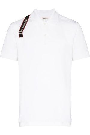 Alexander McQueen Logo-strap pique polo shirt