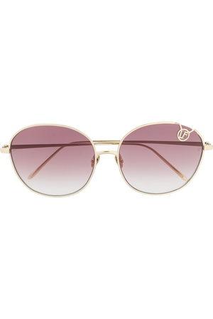 Linda Farrow Round-frame logo sunglasses