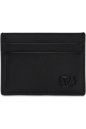 VALENTINO GARAVANI Men Wallets - Metal Logo & Leather Card Holder