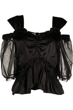 Simone Rocha Cold-shoulder ruffled blouse