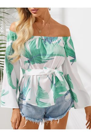 YOINS Off-The-Shoulder Floral Print Flared Sleeved Top with Tie