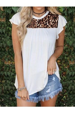 YOINS Leopard Patchwork Crew Neck Short Sleeves Tee