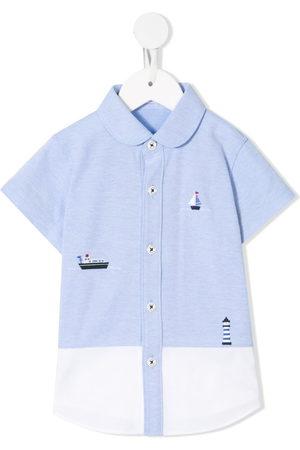 Familiar Colour block embroidered detail shirt