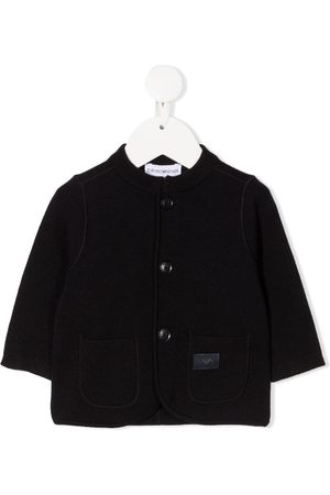 Emporio Armani Cardigans - Logo patch knitted cardigan
