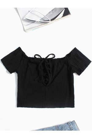 YOINS Lace-up Design Off The Shoulder Short Sleeves T-shirts